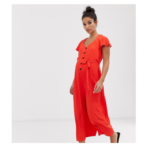 ASOS DESIGN Maternity frill sleeve jumpsuit with cut out back