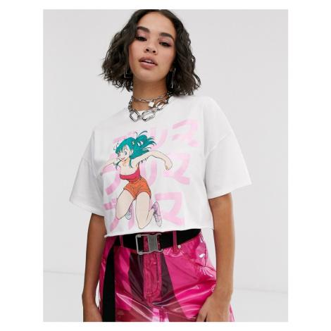 Bershka dragon ball print t-shirt in white