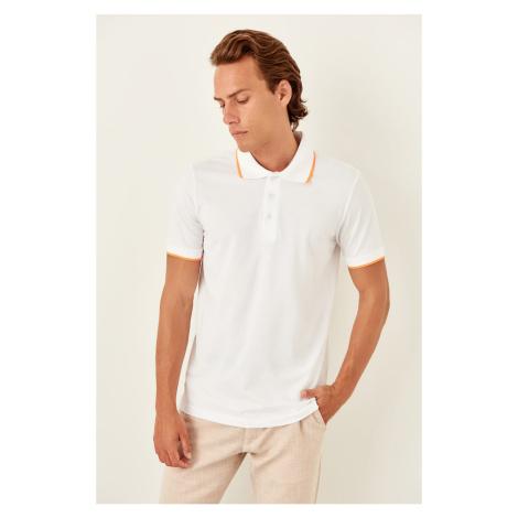 Trendyol White Mens Short Sleeve Polo collar Neon stripe T-Shirt