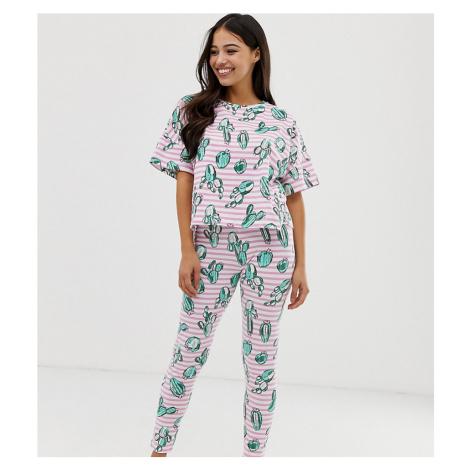 ASOS DESIGN Petite stripe cactus legging pyjama set
