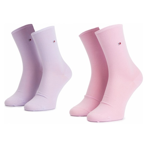 Zestaw 2 par wysokich skarpet damskich TOMMY HILFIGER - 371221 Pink Combo 174