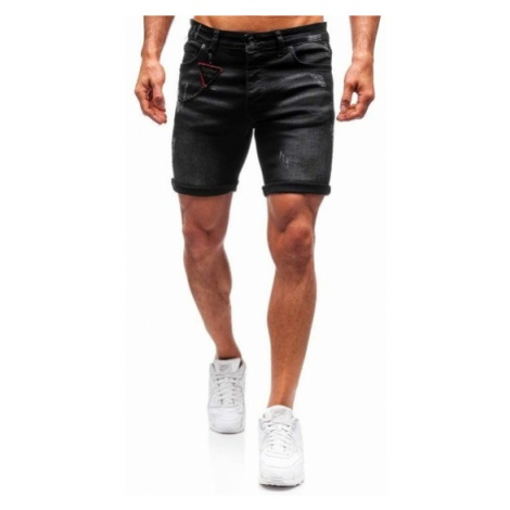 Krótkie spodenki jeansowe męskie czarne Denley 1059