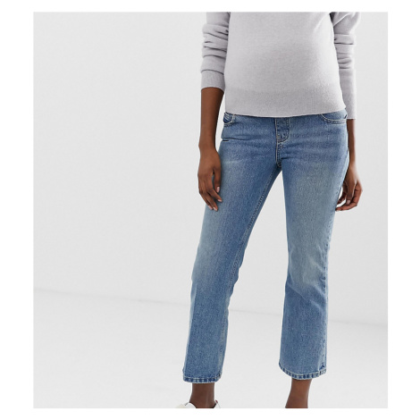 ASOS DESIGN Maternity Recycled Egerton rigid cropped flare jeans in mid stonewash blue with unde