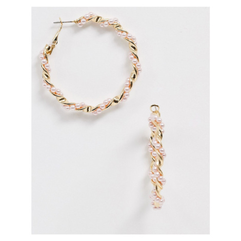 ASOS DESIGN hoop earrings in twist design with coloured pearls in gold tone