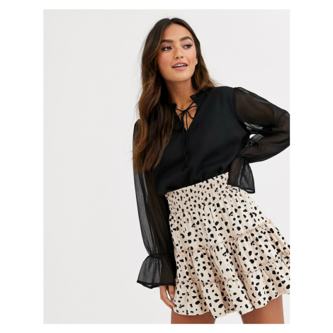 Pieces high frill neck blouse