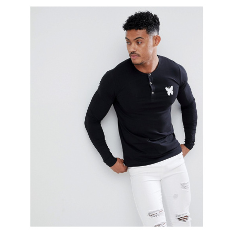 Good For Nothing muscle long sleeve t-shirt in black with buttons
