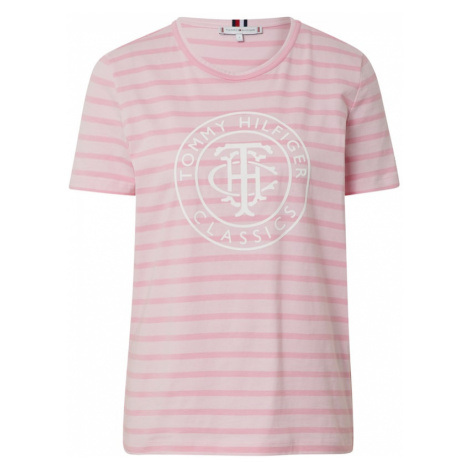TOMMY HILFIGER Koszulka 'ESS RELAXED' biały / różowy pudrowy