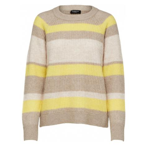 SELECTED FEMME Sweter beżowy / żółty / brązowy