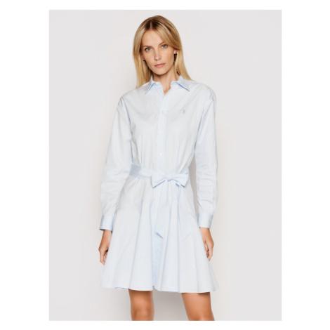 Polo Ralph Lauren Sukienka koszulowa Lsl 211838048001 Niebieski Regular Fit