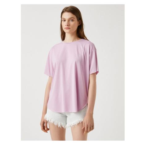 Koton Damska liliowa koszulka Crew Neck