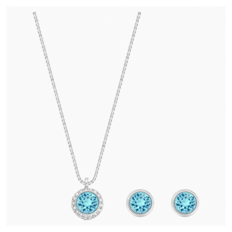 Flirt Set, Blue, Rhodium plated Swarovski
