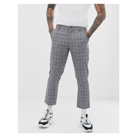 BoohooMAN tapered fit checked trouser in grey