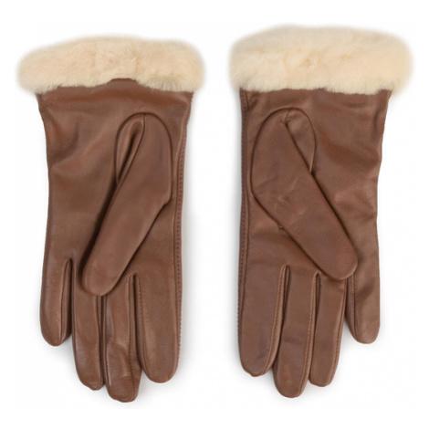 Ugg Rękawiczki Damskie W Classic Leather Logo Glove 19034 Brązowy