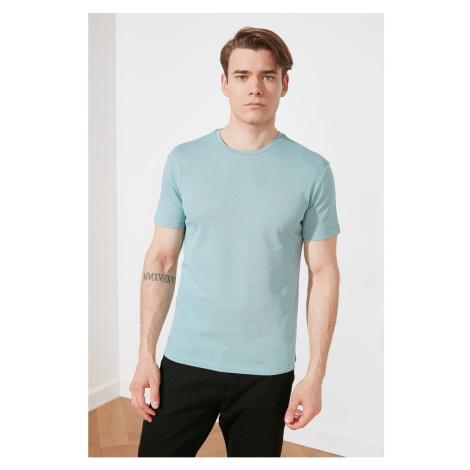 Modsyol Mint Męskie paski z krótkim rękawem T-shirt Trendyol