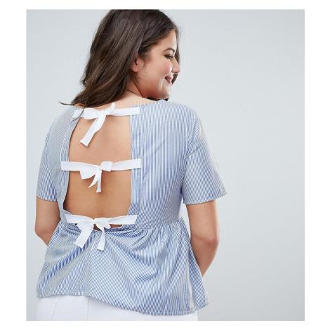Brave Soul Plus Faith Stripe Top with Bow Back Detail