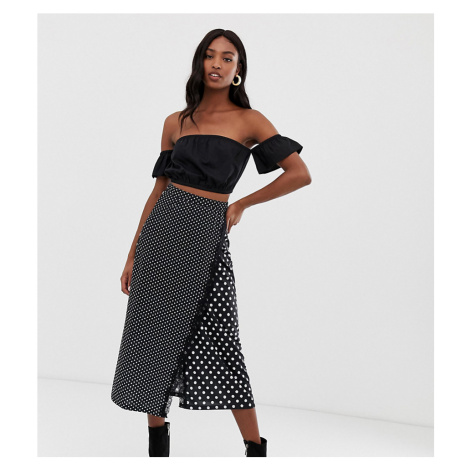 Y.A.S Tall Pieza mixed polka dot wrap skirt