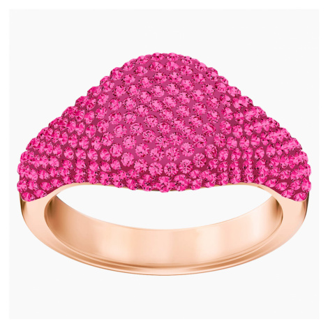 Stone Signet Ring, Pink, Rose-gold tone plated Swarovski