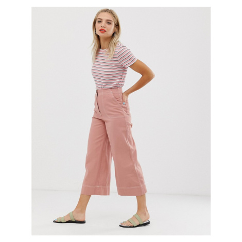 Monki wide leg trousers with contrast stitching in pink