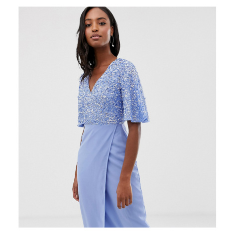 Maya Tall sequin top midi pencil dress with flutter sleeve detail in bluebell