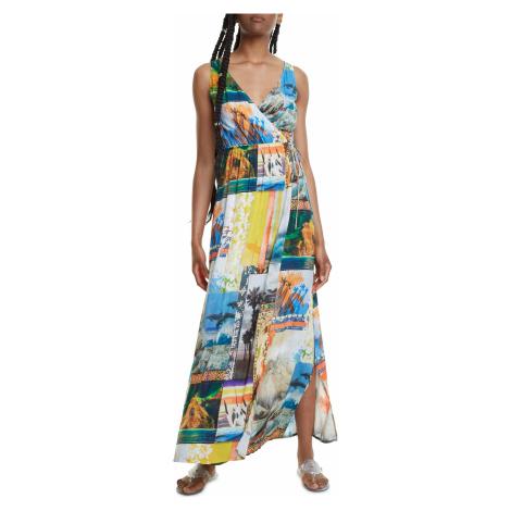 Desigual kolorowa maxi sukienka Vest Hawai
