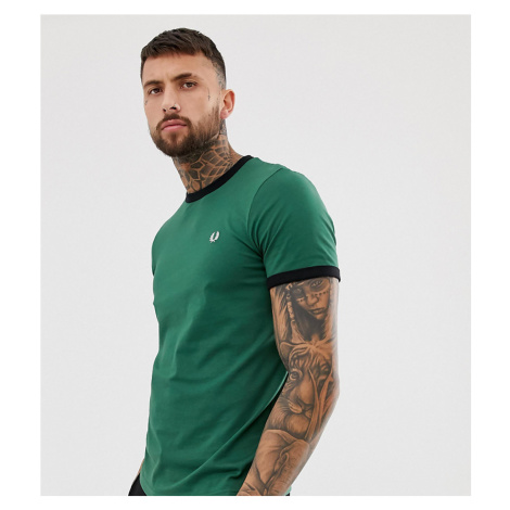 Fred Perry slim fit contrast ringer t-shirt in green Exclusive at ASOS