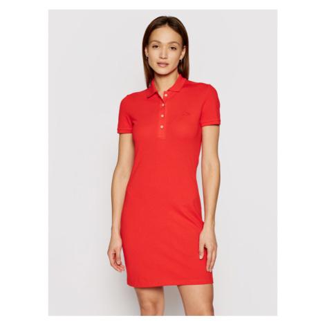 Lacoste Sukienka codzienna LACOSTE-EF5473 Czerwony Slim Fitq