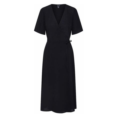 NEW LOOK Letnia sukienka 'F PLAIN WRAP MIDI DRS' czarny