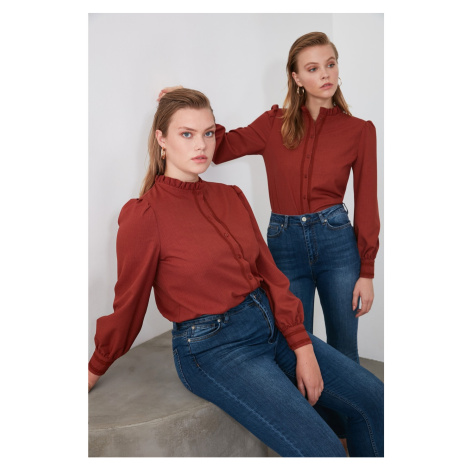 Trendyol Camel Collar Frilled Shirt