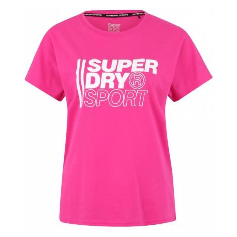 Superdry Koszulka funkcyjna różowy / biały