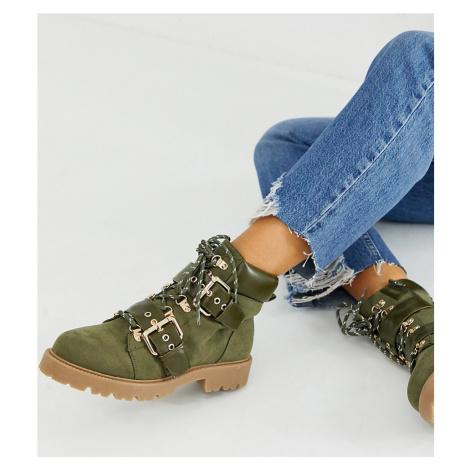 ASOS DESIGN Wide Fit Avenue hiker boots in khaki