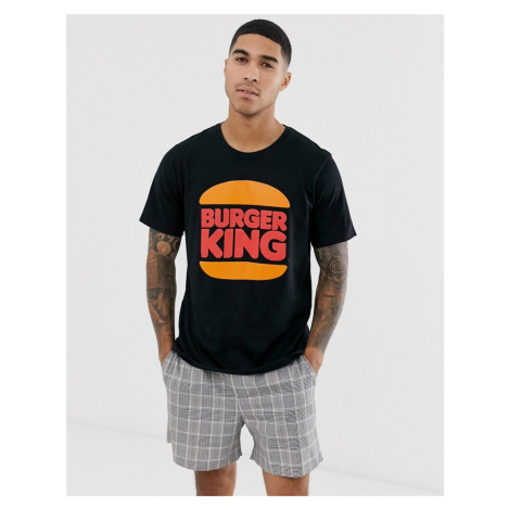 Pull&Bear Burger King logo t-shirt in black Pull & Bear