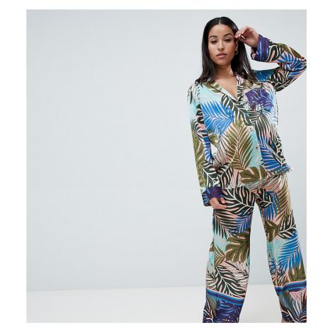 ASOS DESIGN Maternity Tropical Border Print Satin Pyjama Set