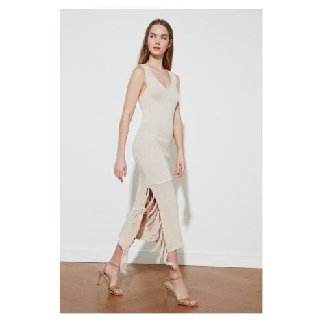 Trendyol Stone Ruffle Knitwear Sukienka