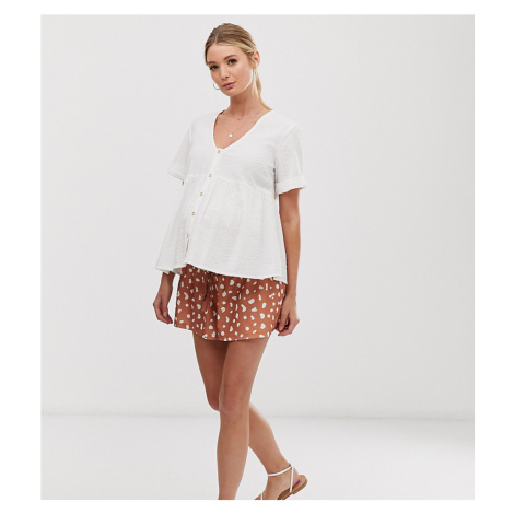 ASOS DESIGN Maternity under the bump textured shirred waist short in dalmatian print