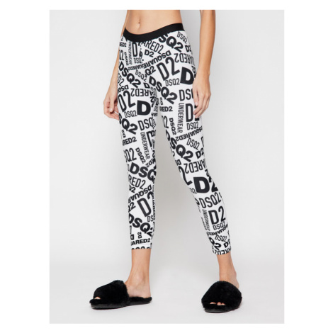 Dsquared2 Underwear Legginsy D8N473270 Biały Slim Fit