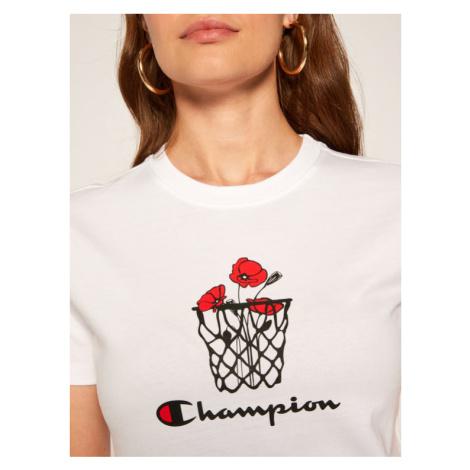 Champion T-Shirt Basketball Logo Digital Print 112965 Biały Custom Fit