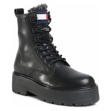 Trapery TOMMY JEANS - Check Tongue Lace Up Boot EN0EN01071 Black BDS Tommy Hilfiger