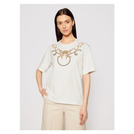 Pinko T-Shirt Talento PE 21 PSPG 1N135L Y5BD Beżowy Regular Fit