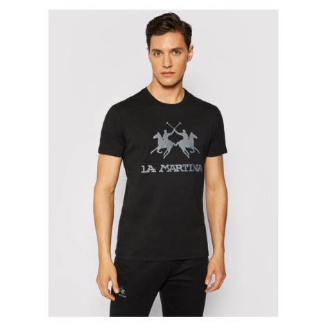 La Martina T-Shirt CCMR01 JS206 Czarny Regular Fit