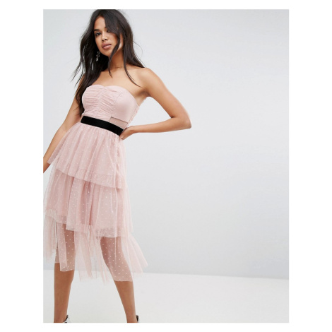 ASOS Bardot Dobby Tiered Mesh Midi Prom Dress