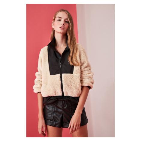 Trendyol Ekru Plush Black Windbreaker Fabric Detail coat