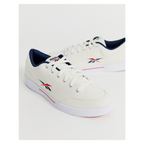 Reebok slice canvas trainers with vector logo in beige