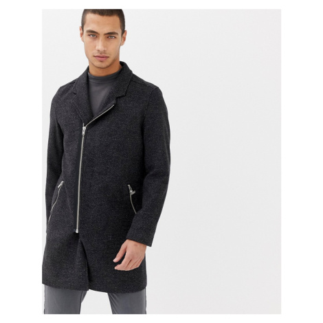 Lindbergh wool zip through overcoat in grey
