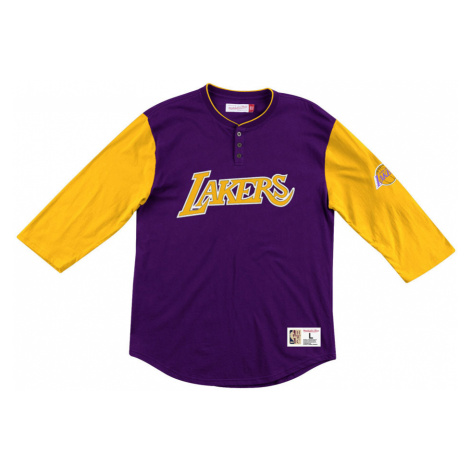 BLUZA MITCHELL&NESS LONGSLEEVE FRENCHISE PLAYER HENLEY LOS ANGELES LAKERS PURPLE