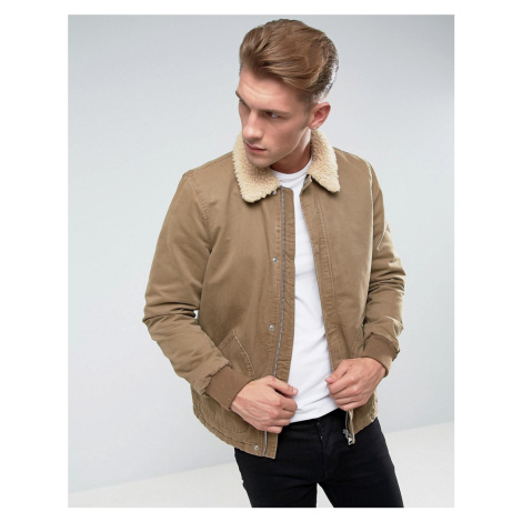 River Island Borg Lined Jacket In Light Brown