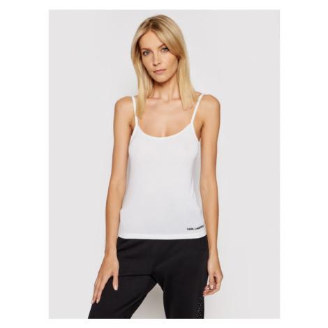 KARL LAGERFELD Top Logo Singlet 211W2108 Biały Slim Fit