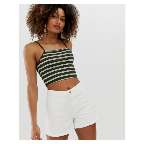 Noisy May square neck stripe rib crop top