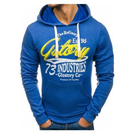 Bluza męska z kapturem z nadrukiem niebieska Denley 6216 GLO-STORY