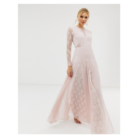 ASOS DESIGN maxi dress with long sleeve and lace panelled bodice