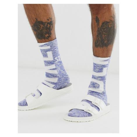 Birkenstock slub logo socks in blue